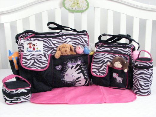 57% off Zebra – Hot pink & black 5 piece diaper bag & Pack n Play deals!