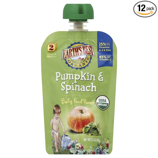 Earth's Best Organic Stage 2, Pumpkin & Spinach, 3.5 Ounce Pouch (Pack of 12)  Only $7.88 w/S&S!