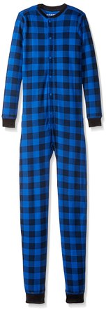 Hatley Boys' Kids Union Suit- Buffalo Plaid Blue Bear Bum – Only $7.77!