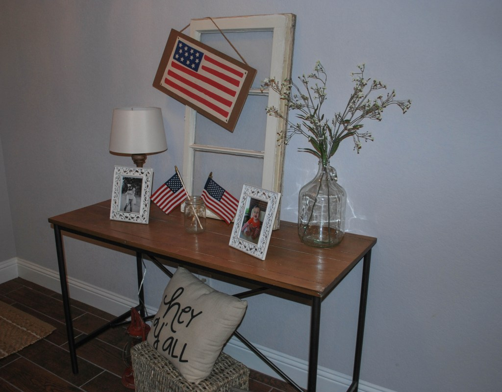 Patriotic Decor, 4th of July, July Goals, Entryway Decor, Farmhouse Entry