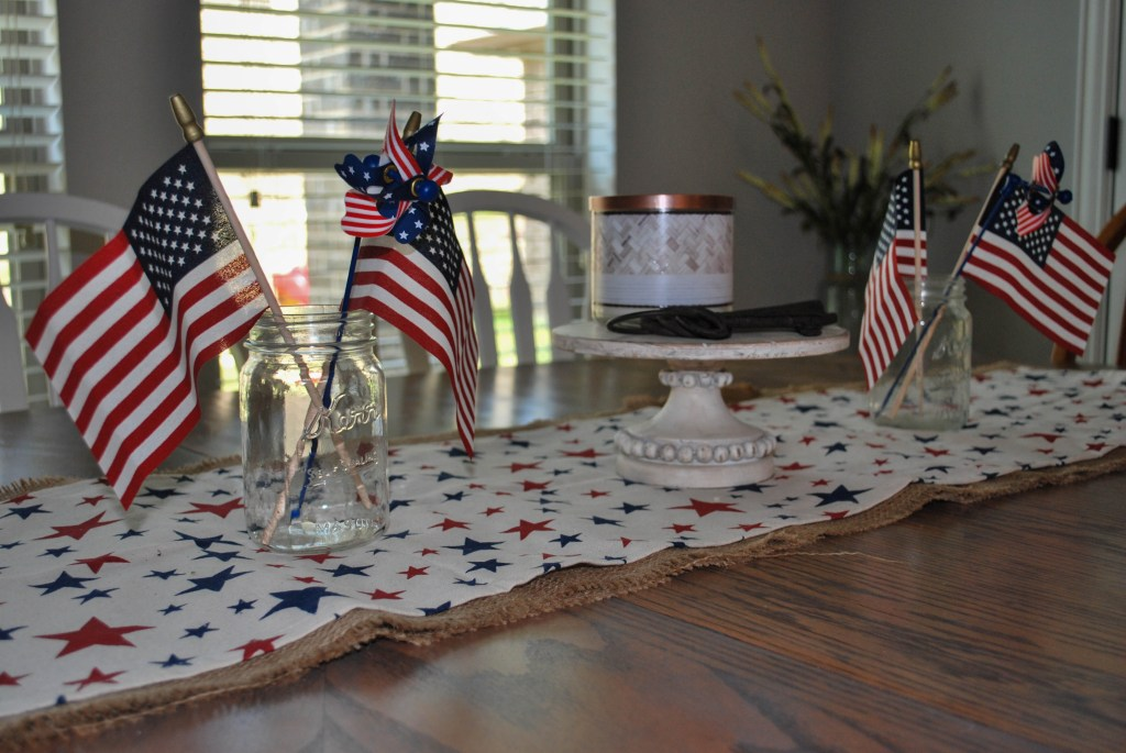4th of July, Patriotic Decor, Simple Tablescape, Farmhouse Table, Magnolia Market, Bath and Body Works