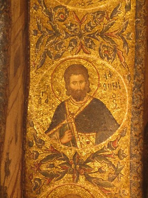 circular byzantine mosaic of saint, chora church