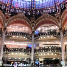 The balconies and stained glass of Galeries Lafayettes Paris