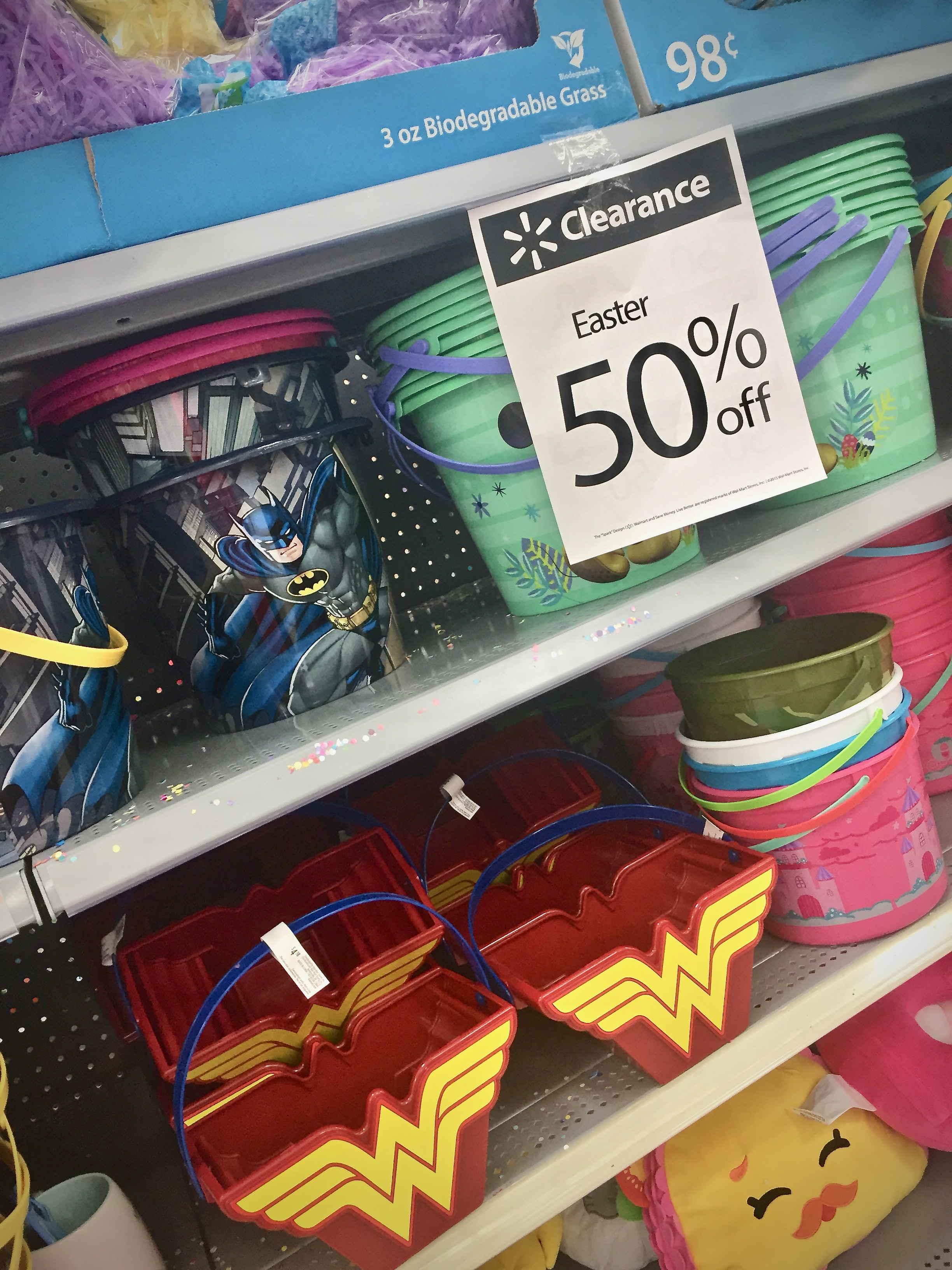 Easter baskets on clearance can be used as birthday party goodie or gift bags - 10 Things To Do With After-Easter Clearance Items