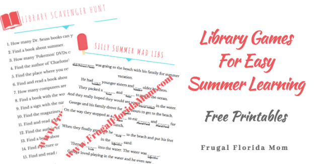 Library Games For Easy Summer Learning - Free Printables