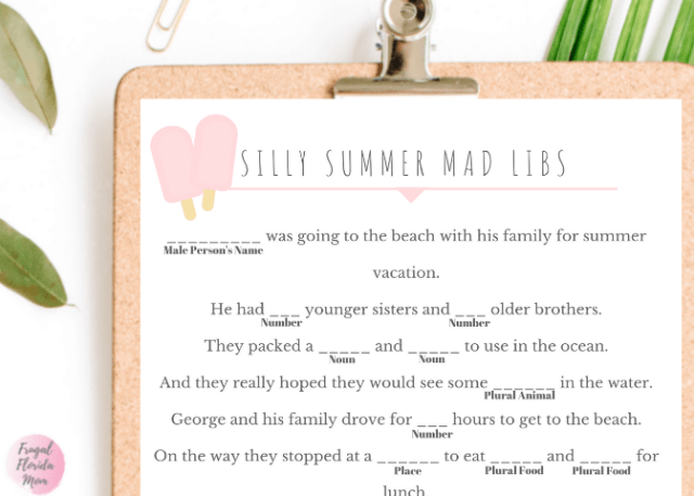 Silly Summer Mad Libs - Printable Games For Easy Summer Learning