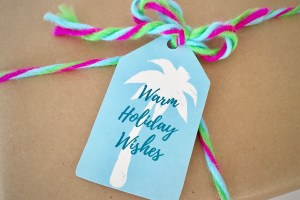 Warm Holiday Wishes Christmas gift tag with palm tree - Coastal Christmas Printable Gift Tags