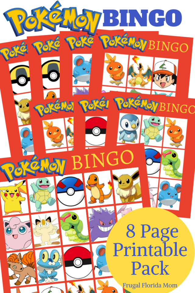 Pokemon Birthday Party Printables - BINGO game printable set