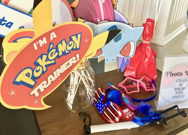 Pokemon party photo wall props - Pokemon Party Ideas & Printables