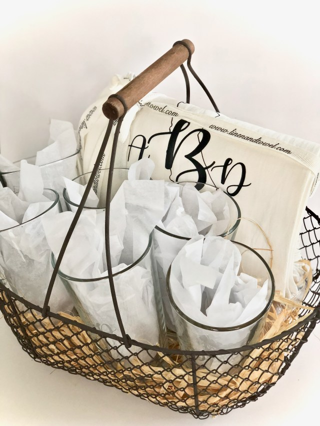 Gift basket with monograms etched on glass and pressed on kitchen towels - Glass Etching With Your Cricut Or Silhouette