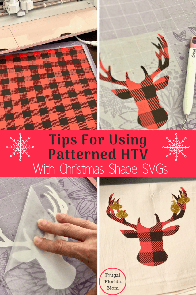 Tips For Using Patterned Heat Transfer Vinyl With Your Cricut Or Silhouette & Christmas Shape SVGs