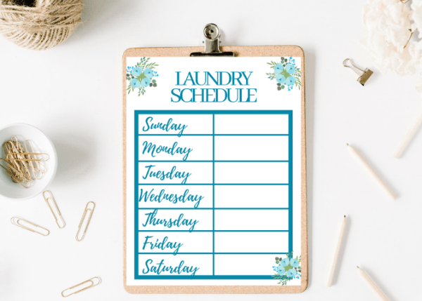 Printable, Customizable Laundry Schedule - 5 Ways To Get On Top Of Your Laundry