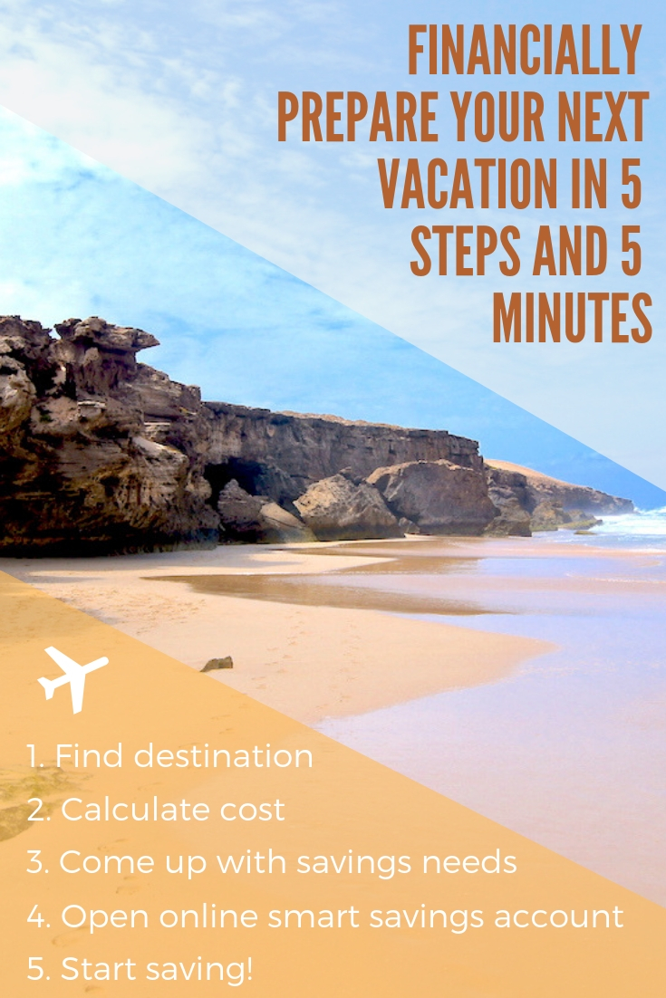 Financially Prepare Your Next Vacation in 5 Steps and 5 Minutes #personalfinance #vacationplanning #financialplan #startsaving #frugalliving #frugallivingtips #savemoney #smartsavingsaccount #financialgoals