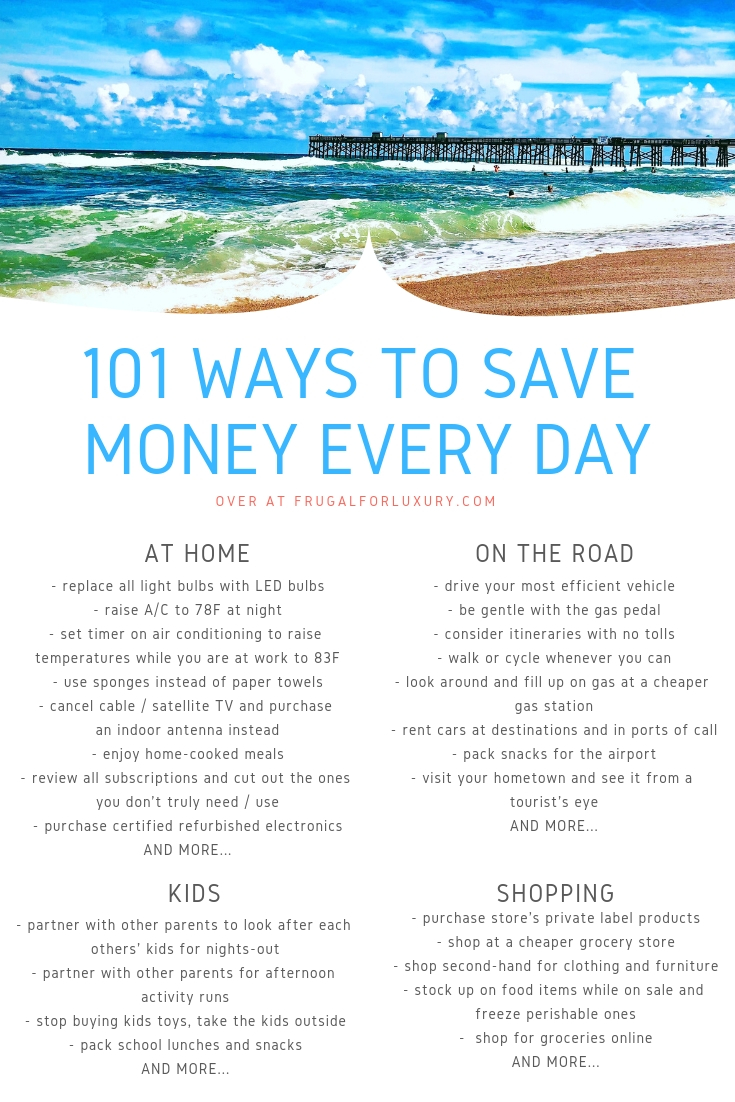 101 Ways to Save Money Every Day #personalfinance #savemoney #savingstips #savingtips #frugalliving #frugaltips