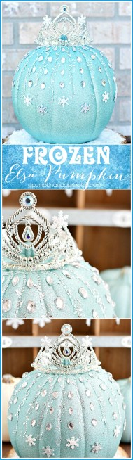 A Frozen-inspired pumpkin: Spray paint, add adhesive bling, and an inexpensive tiara. Image courtesy of apumpkinandprincess.