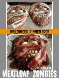 Use your favorite meatloaf recipe and add strips of bacon for skin and onion slices for teeth and eyes. Top with ketchup for a bloody effect. Directions and original image found at: http://fabulesslyfrugal.com/halloween-dinner-idea-meatloaf-zombies/