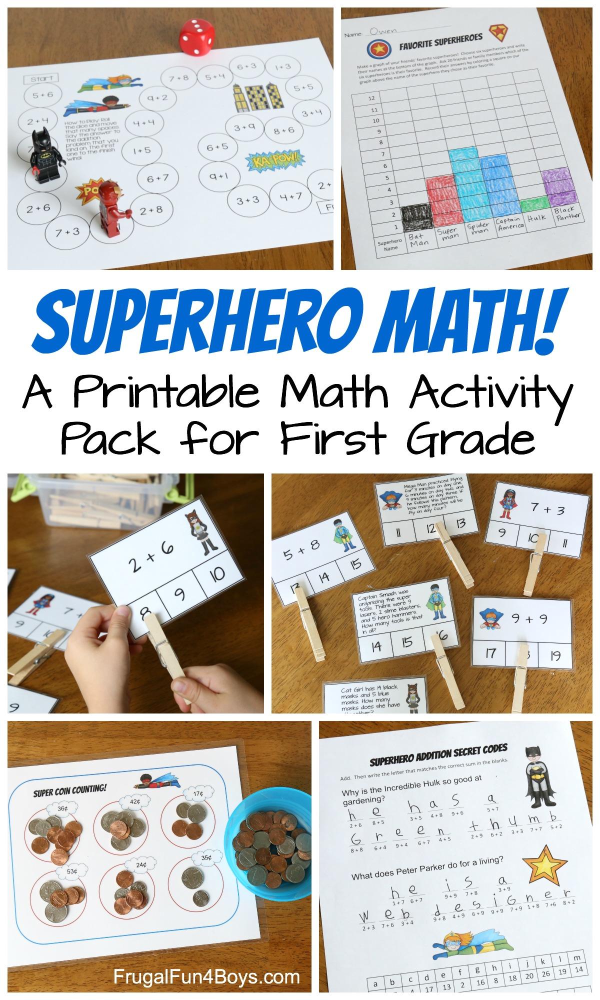 Superhero Math A Printable Math Activity Pack For First