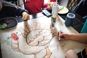 Thankful Turkey Tablecloth Family Craft | Frugal Fun Mom