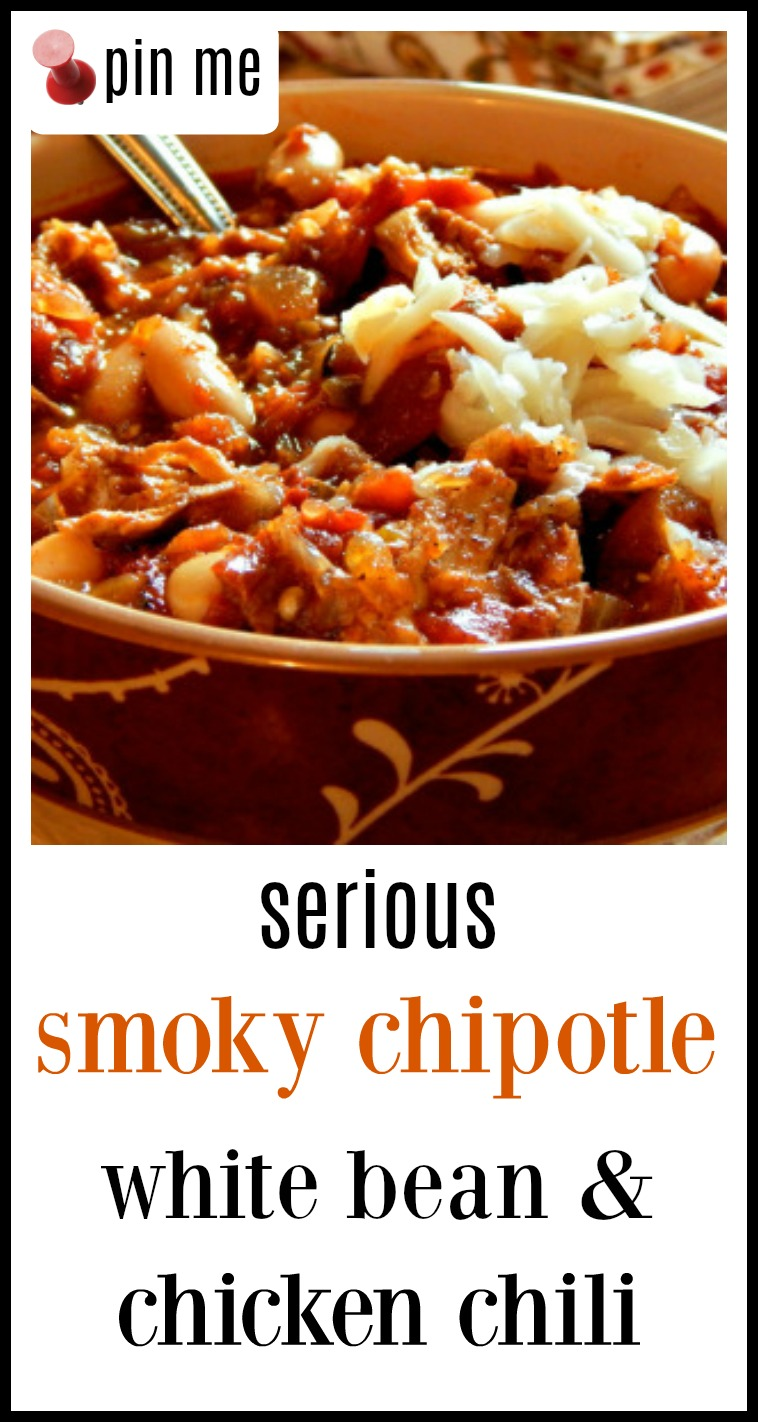 Chipotle Chicken Chili is a serious chili, fast an easy with an incredibly complex flavor from a variety of chiles. You'll want to double this recipe! #ChipotleChickeChili #SeriousChickenChili
