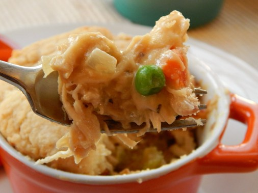 Chicken Pot Pie - top with biscuit, pie crust, potatoes or puff pastry