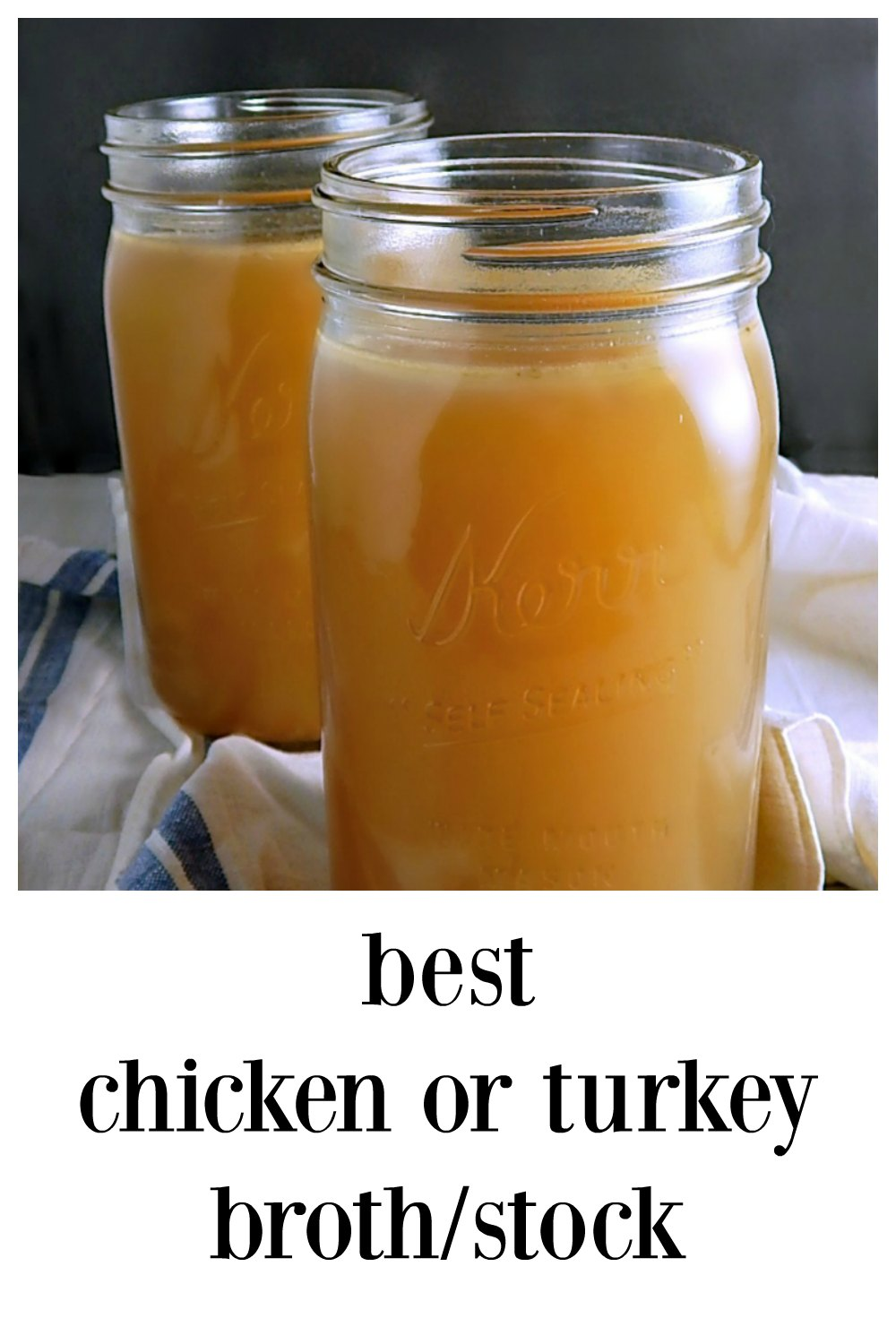Why make your own stock? It just tastes better, no additives and it's super easy. All it takes is time. Here's the best recipe for Best Chicken or Turkey Broth adapted from Cook's Illustrated with all my hints and helps! #HomemadeChickenStock #HomemadeTurkeyBroth #CooksIllustratedBestTurkeyStock #CooksIllustratedBestChickenStock