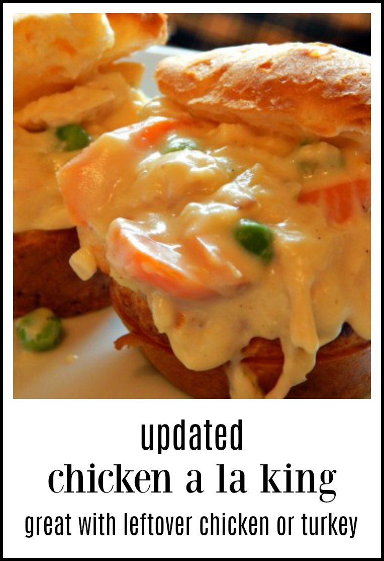 Updated Chicken a la King. A crowd pleaser, easy & great use of leftover chicken or turkey. Serve on popovers, biscuits, noodles, etc. #ChickenalaKing