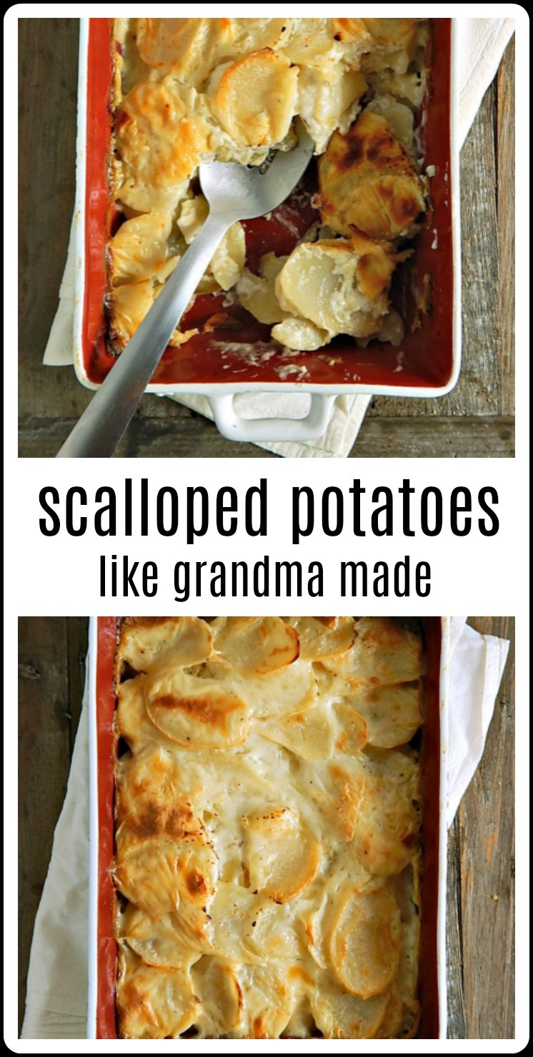 Scalloped Potatoes the Old fashioned 1950's Betty Crocker version, just like your Grandma made! These are still the best after all these years! Add ham or cheese to make these a hearty meal.