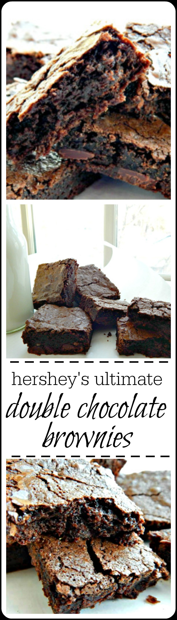 Hershey's Ultimate Double Chocolate Brownies are serious chocolate flavor; heavy, deep, dark and chewy with the hallmark shiny crust. #HersheysBrownie #HersheysUltimateDoubleChocolateBrownie