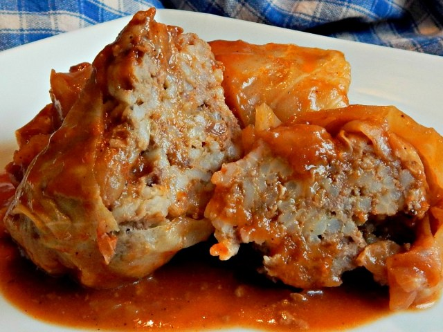 Stuffed Cabbage Rolls with Sweet Sour Sauce - Frugal Hausfrau