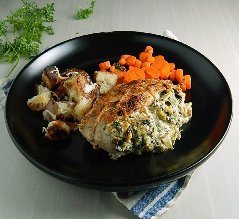 Spinach Dip Stuffed Chicken Breasts with Glazed Carrots With Parsley Butter