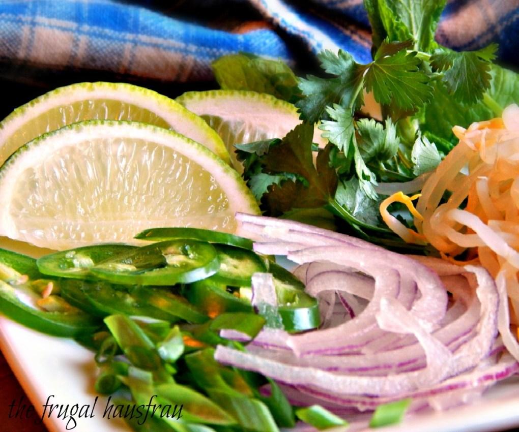 Garnishes for Pho Ga Vietnamese Chicken Noodle Soup
