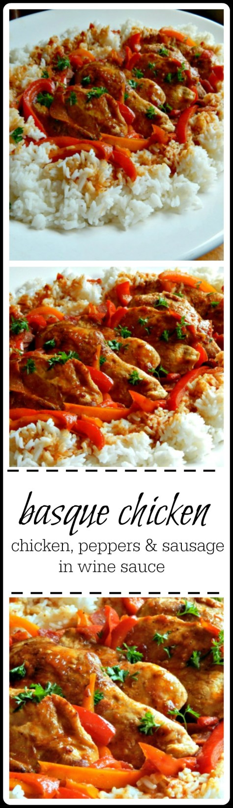 Poulet Basquaise - traditional Basque Chicken is a one skillet meal