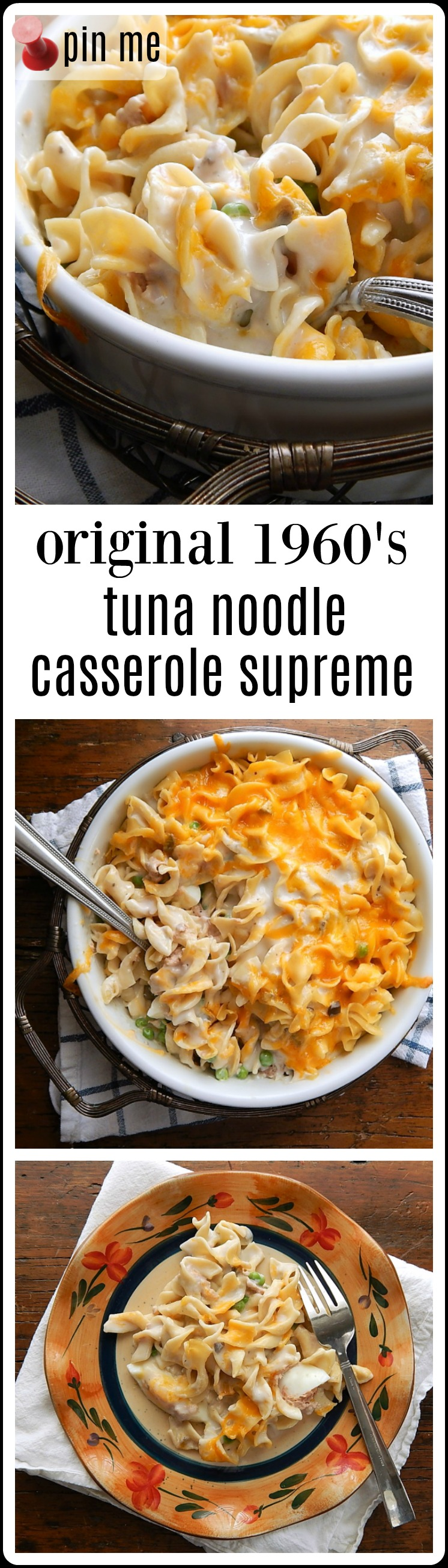Meta Given's Tuna Noodle Casserole Supreme - this is the original 1960's Tuna Casserole, with or without potato chips. This is how it is supposed to be made! Creamy & delish! #TunaNoodleCasserole #TunaNoodleCasseroleSupreme