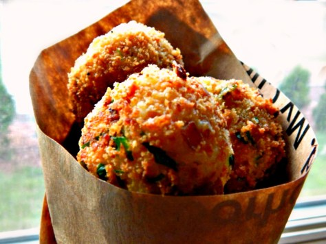 Paper Cones make great dishes! For fried things, candy, popcorn...and this Arancini.