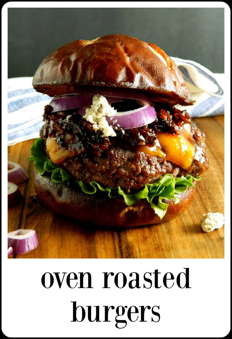 Oven Roasted Burgers: Juicy, succulent, caramelized oven roasted (baked) burgers. No mess, no fuss, no bother and perfectly cooked to your exact temperature preference! A miracle! #BakedBurgers #OvenBurgers #OvenRoastedBurgers