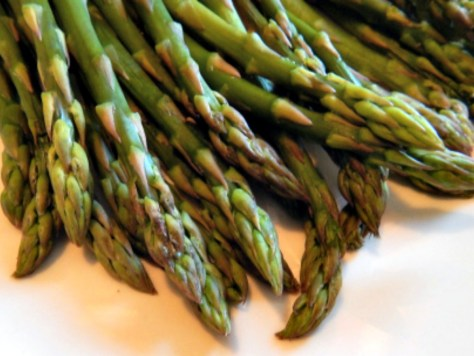The tips are perfect when asparagus is cooked standing up in the microwave