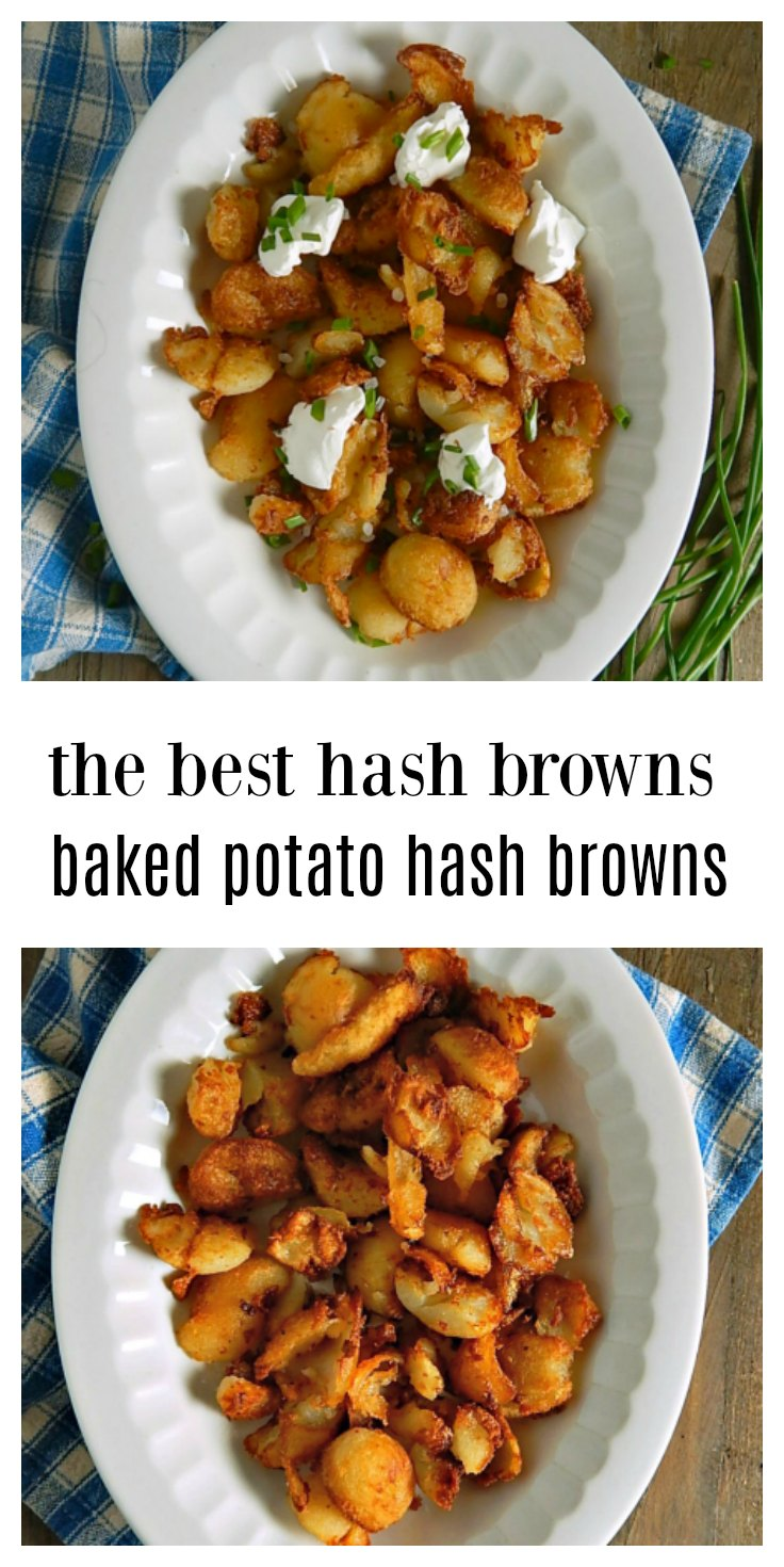 Leftover Baked Potatoes make the BEST Baked Potato Hash Browns. They fry up fast and are golden, brown and delish, all crunchy outside and soft inside! You'll want to make extra baked potatoes just so you have some leftover to make these. #BakedPotatoHashBrowns