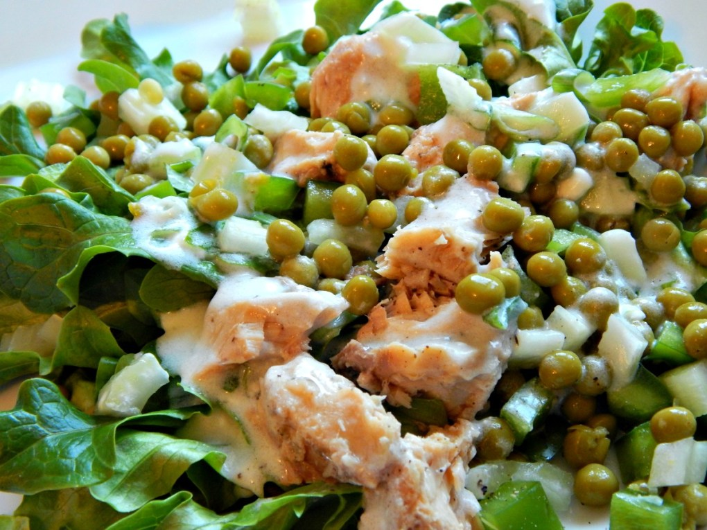 Spring Pea & Salmon Salad with Lemon Yogurt Dressing