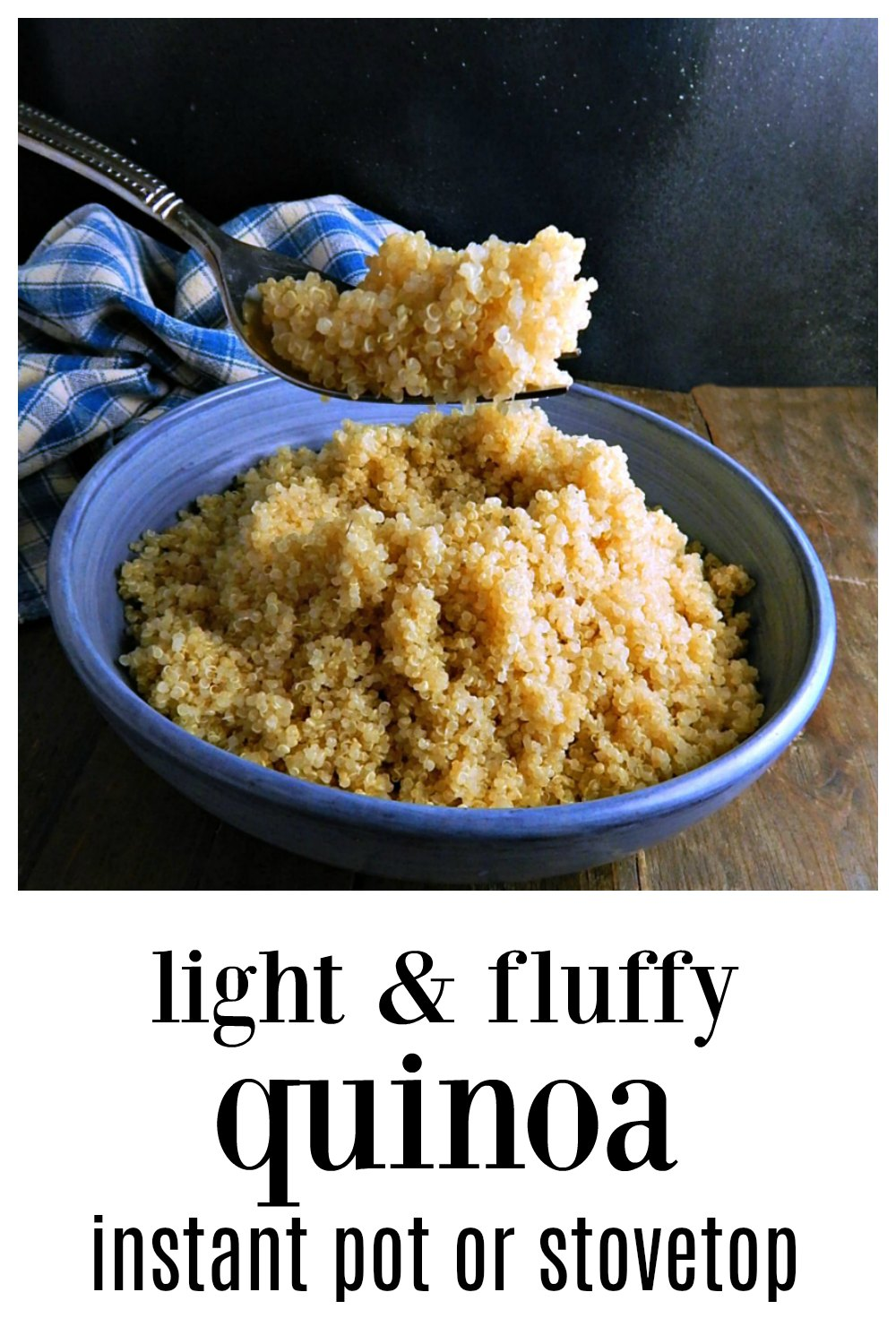 Perfect light & fluffy Quinoa IS possible with this fast and easy recipe for the Instant Pot or the Stove. Make in any amount; great for meal prep! #PerfectQuinoa #PerfectInstantPotQuinoa #PerfectInstantPotStoveTop #Light&FluffyQuinoa
