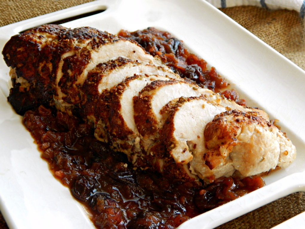 Spice Rubbed Pork Tenderloin - Rhubarb Cranberry Compote