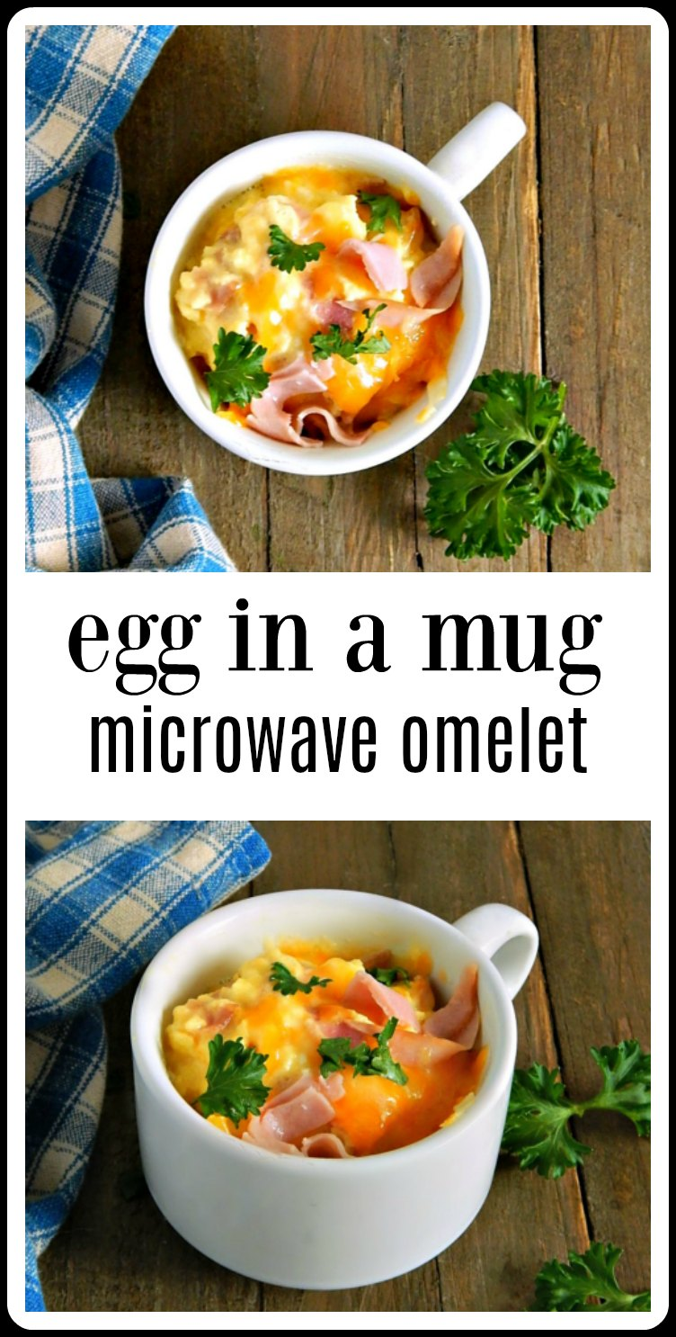 So fun, so fast & so easy, Egg in a Mug Microwave Omelets are the answer to just about every breakfast dilemma you might have! Minutes to make. #EggInMug #MicrowaveEggOmelet #MugOmelet