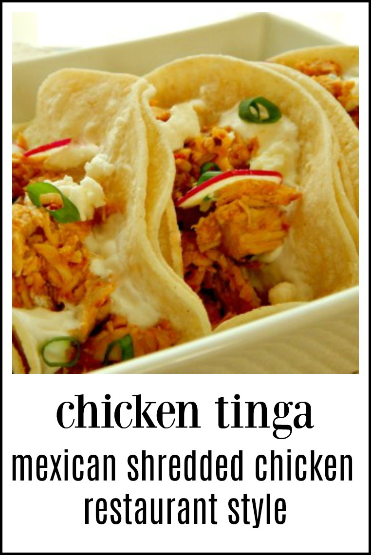 Pueblan Style Shredded Chicken, Tinga de Pollo is a luscious tangle of Mexican Shredded Chicken to serve any way you want! This makes a big batch for meal prep. #MexicanShreddedChicken #ChickenTinga #TingadePollo