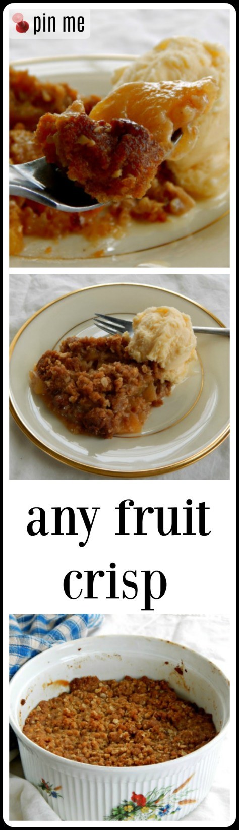 Any Fruit Crisp - just like it sounds! Directions for the best crisp made with just about any fruit