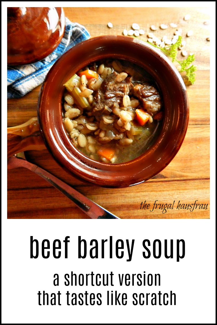 You'll swear Beef Barley Soup made from a doctored up beef stock & leftover pot roast is a real deal, simmered all day from bones soup! #BeefBarleySoup #LeftoverPotRoast