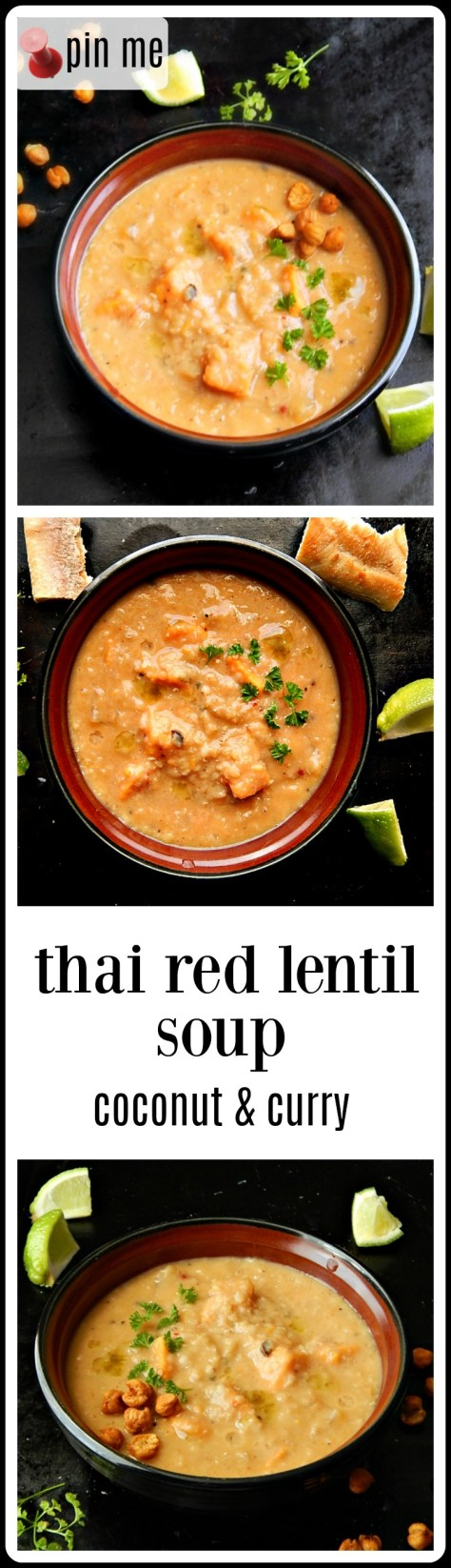 Thai Red Lentil Soup - coconut, curry & lime! Cooks fast and may be served chunky or as a puree