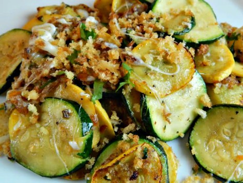 Summer Squash with Herbed Bread Crumbs & Cheese