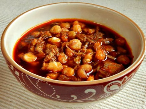 Posole, Pozole, a rich pork and hominy stew.
