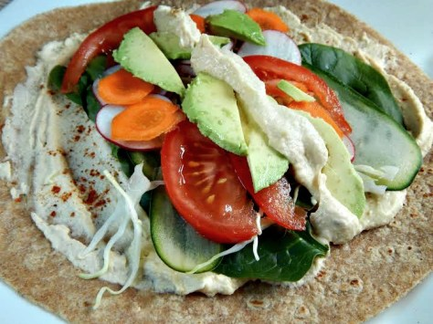 Vegetarian Hummus Wrap - try to keep fillings lined up side to side