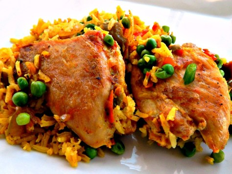 Poor Man's Paella - chicken, regular rice. Fantastic, even on a budget.