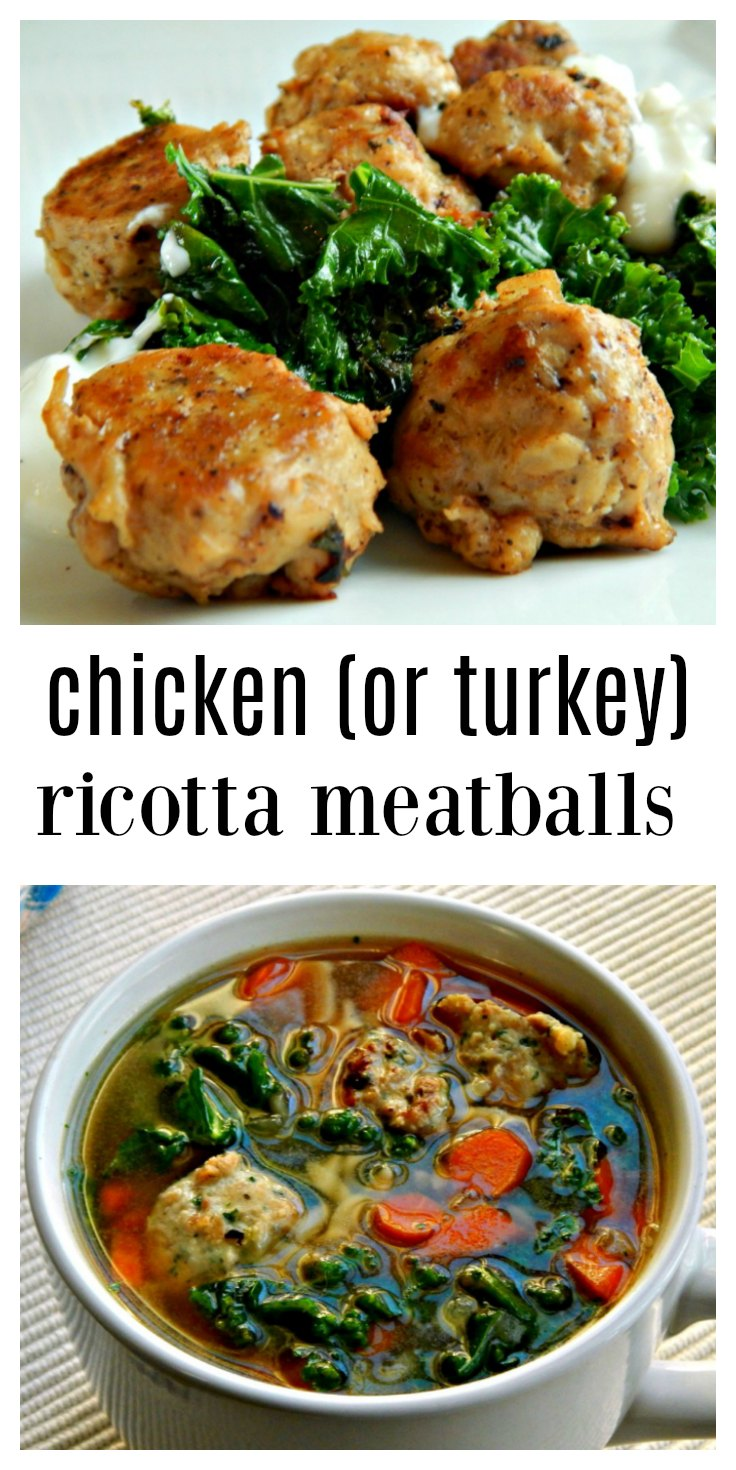 These Easy Chicken or Turkey Ricotta Meatballs are tender, moist and delish and can be used in so many recipes. Italian Wedding Soup, anyone? And let's not forget they're healthy, too! #RicottaMeatballs #TurkeyMeatballs #ChickenMeatballs #ChickenRicottaMeatballs